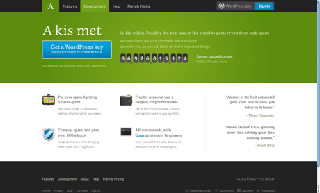Akismet home page