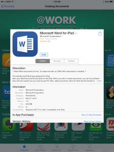 Word for iPad App Store Screen