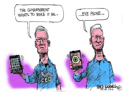 Mike Luckovich Cartoon Apple vs FBI curiouser and curiouser