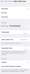 Settings/Do Not Disturb My iPhone 6s Phone Would Not Ring But I Found The Answer
