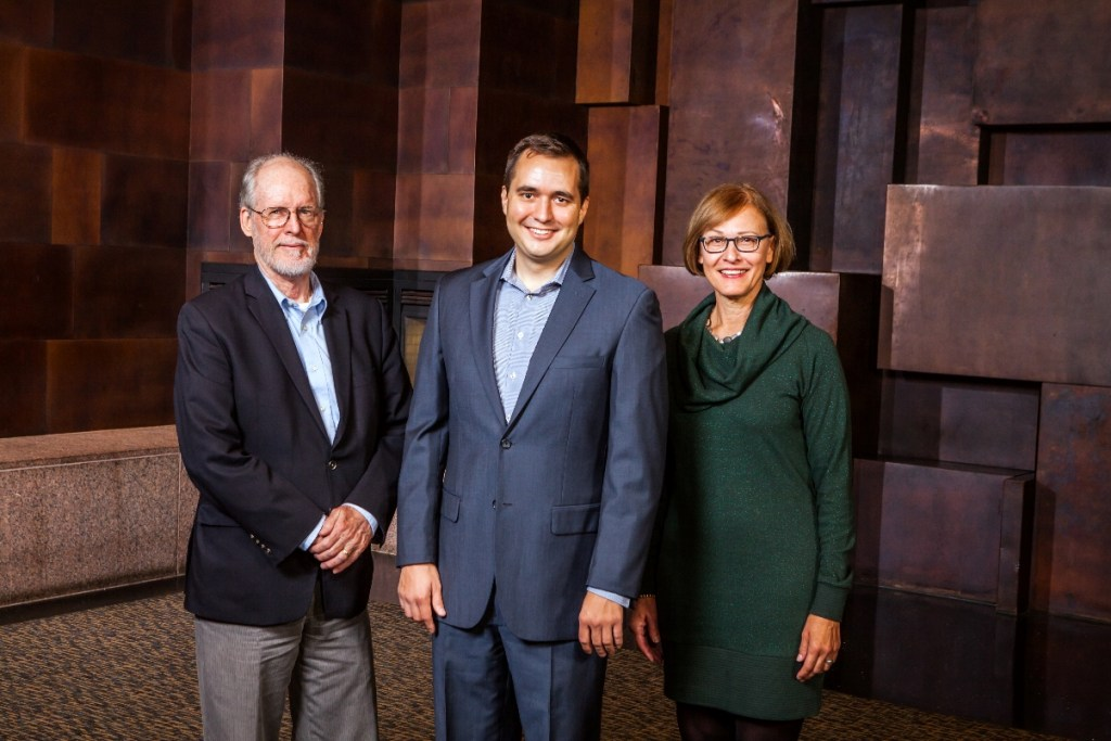 Jeanne Voigt (R), Jeff Ochs, and Rob Scarlett of the Venn Foundation