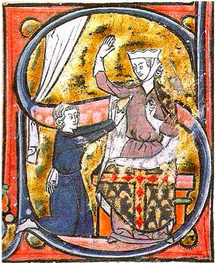This painting depicting a lover handing his heart to his mistress dates back to the 13th Century.