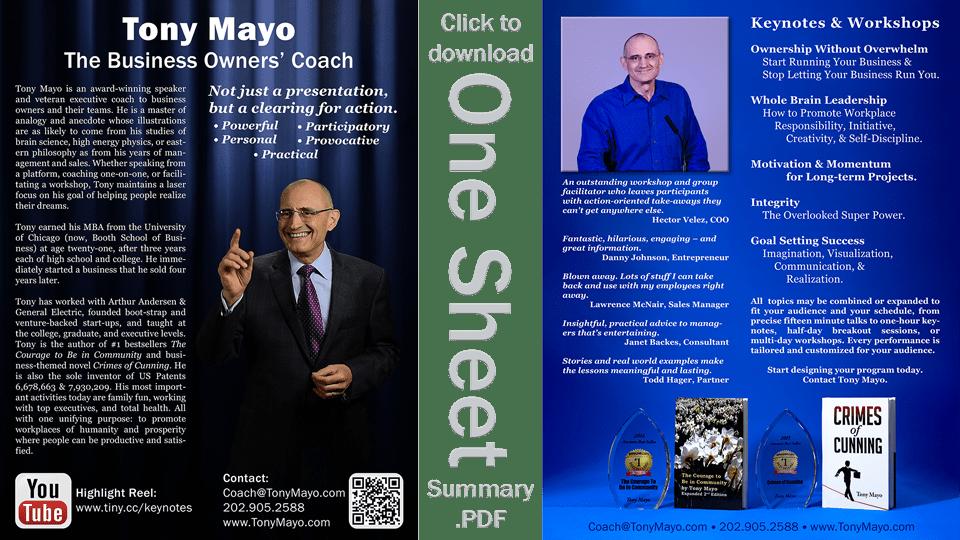 Speaker Tony Mayo One Sheet icon