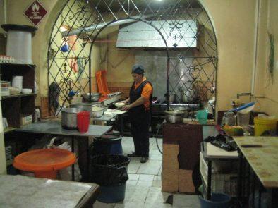Photo of the kitchen in a little restaurant near the Hotel Sebastian.