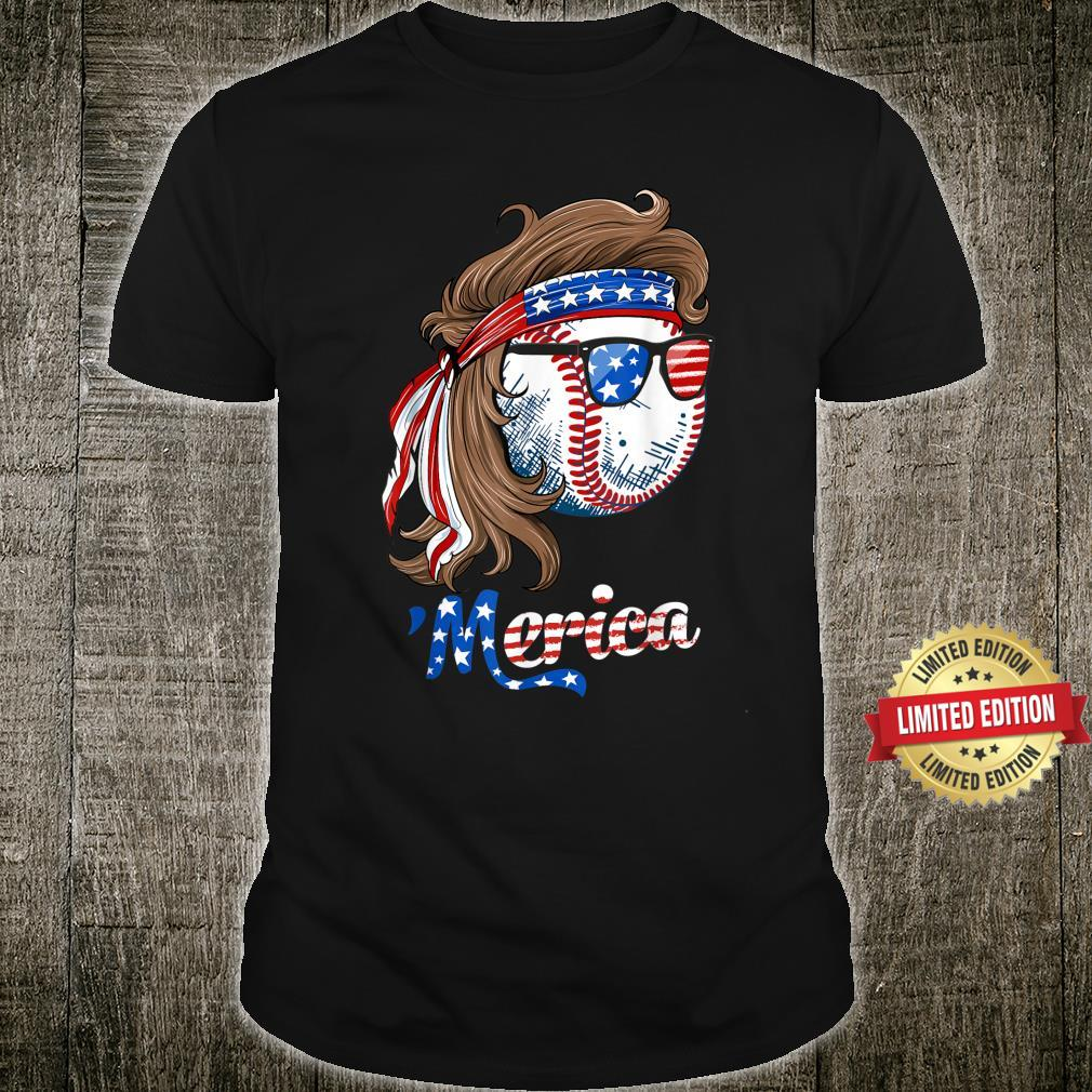 Baseball Mullet 4th Of July American Flag Merica Fathers Day Shirt