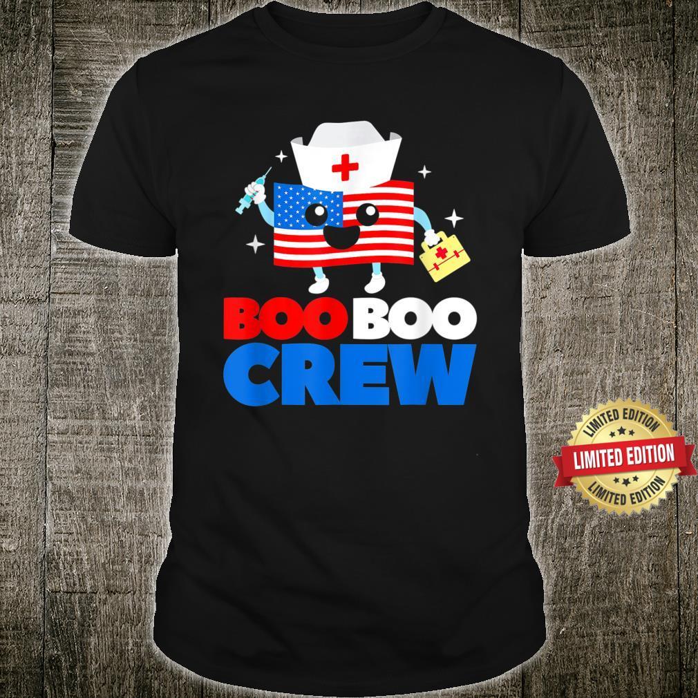 Boo Boo Crew American Flag 4th Of July USA Nurse Shirt