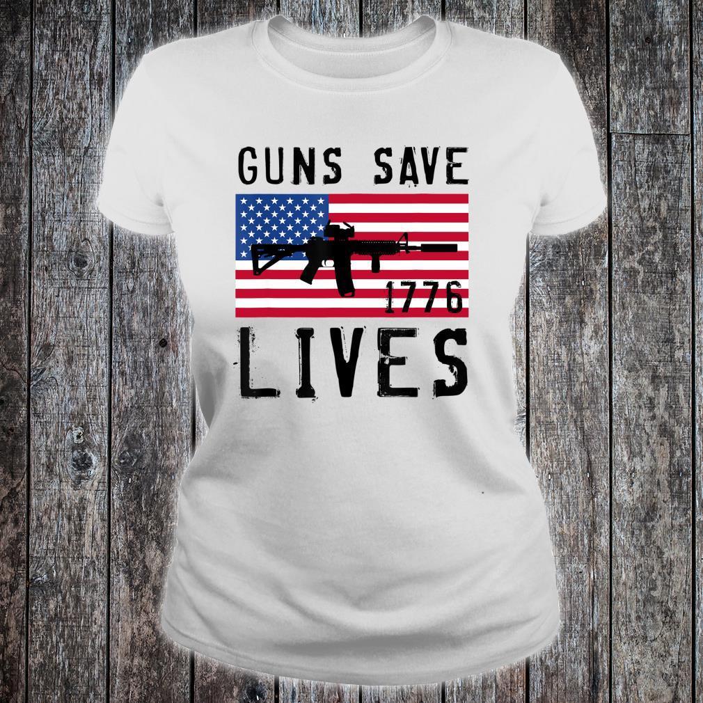GUNS SAVE LIVES, AR15 AMERICAN FLAG, FREEDOM 1776 Shirt ladies tee