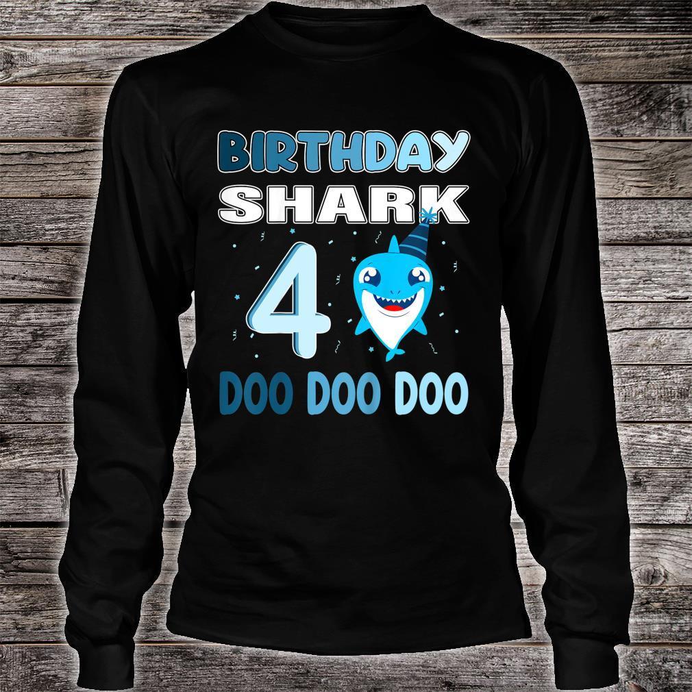 Kids baby shark birthday shirt 4 Birthday party Shirt long sleeved