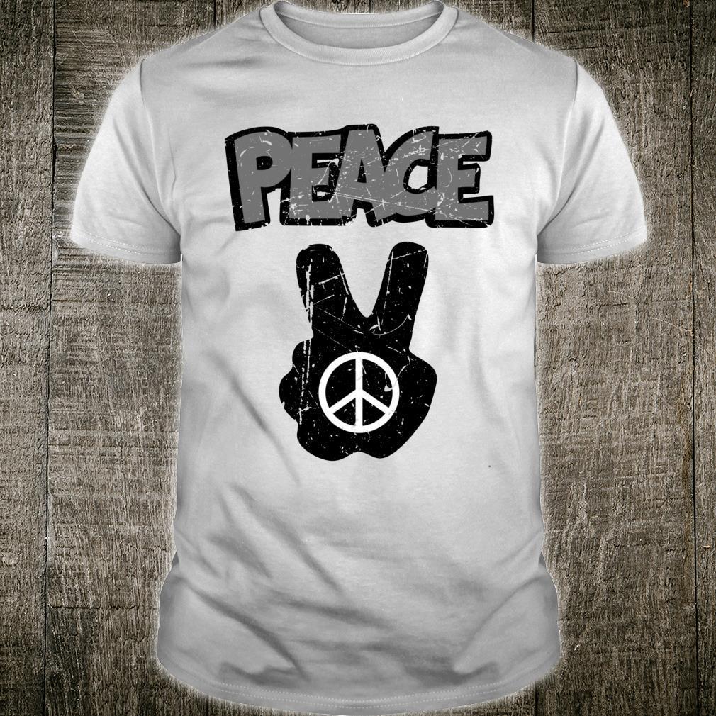 Retro Hand Peace Sign Distressed Hippie Boho Design Freedom Shirt
