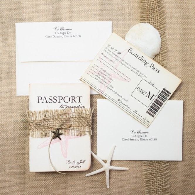 Starfish Passport Wedding Invitations