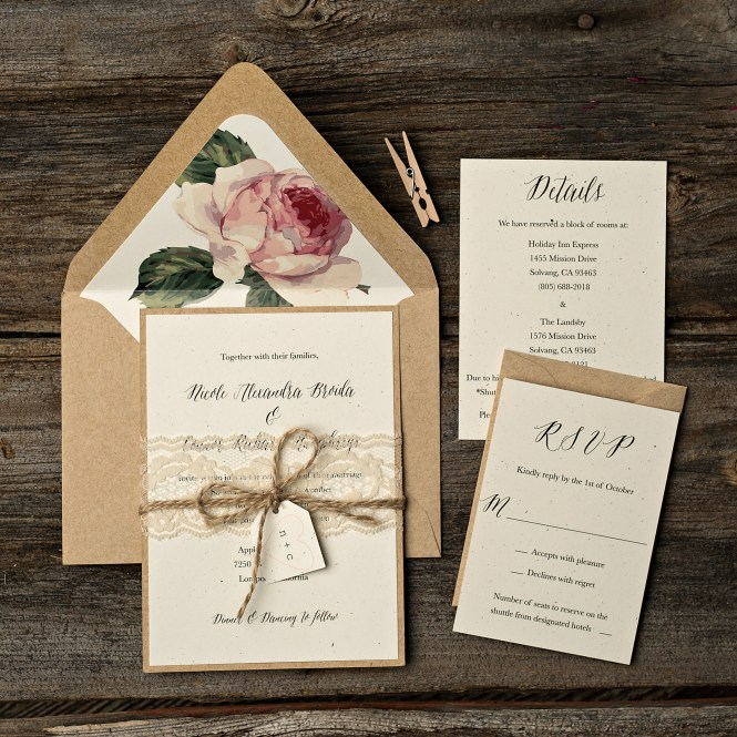 Shabby Chic Wedding Invitations Archives Too Little