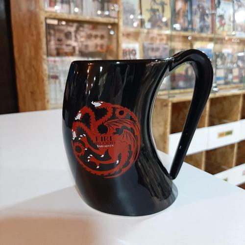 Mug Game of Thrones PT Juego de Tronos Series en Cerámica Casa de Targaryen en Forma de Cuerno Color Negro