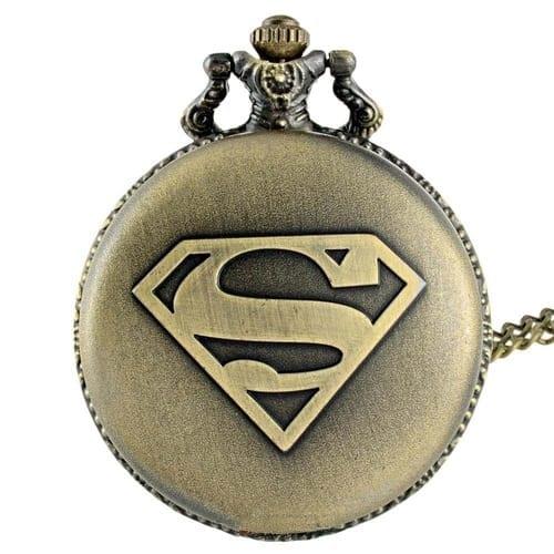 Reloj de Bolsillo Superman PT Superman DC Comics Logo Envejecido (Dorado)