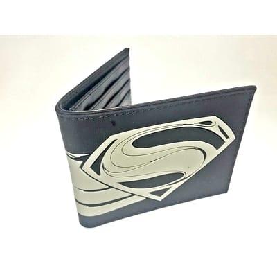 Billetera Goma Superman Logo Negro PT DC Comics Hombre de Acero High Quality Reproduction