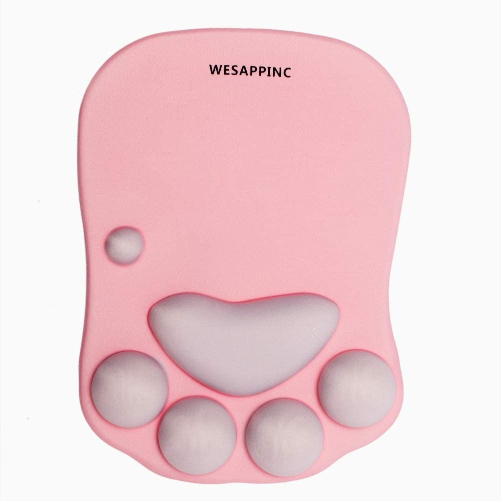 Tapete para mouse con soporte para muñeca de silicona suave de pata de gato