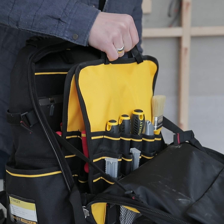 Inside a stanley fatmax backpack