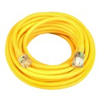SOUTHWIRE 2689SW0002 SJTW General-Purpose Heavy-Duty Extension Cord with Lighted End, 10 AWG, 3 Wire, 125 V, 100 ft, Yellow