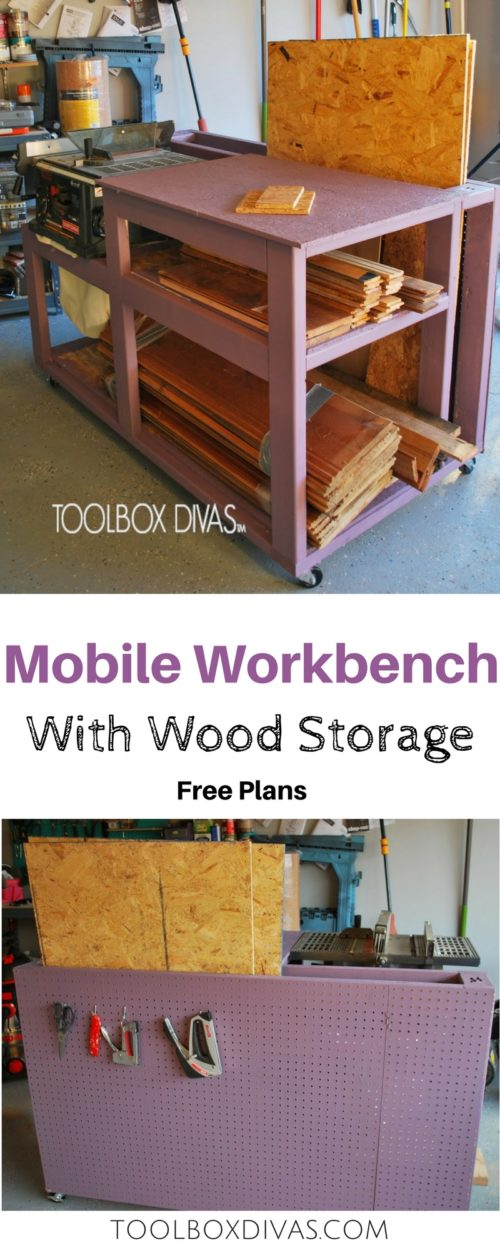 Free build plans.  Table Saw Workbench with Wood Storage and additional pegboard storage for tools. Simple, compact woodworking project with storage. Build a workbench for your table saw in your garage. small workshop @ToolboxDivas #Toolboxdivas #workbench #WOodworking #Workbench #WOrkshop #Stoagesolutions