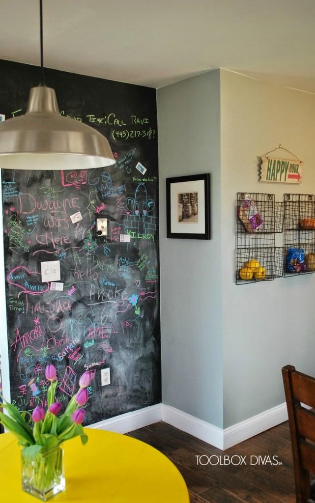 Toolbox Divas chalkboard wall - Budget kitchen remodel