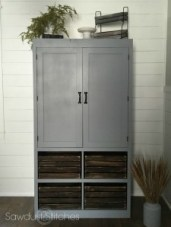 FREE STANDING PANTRY WITH CRATE ORGANIZATION By Sawdust 2 Stiches