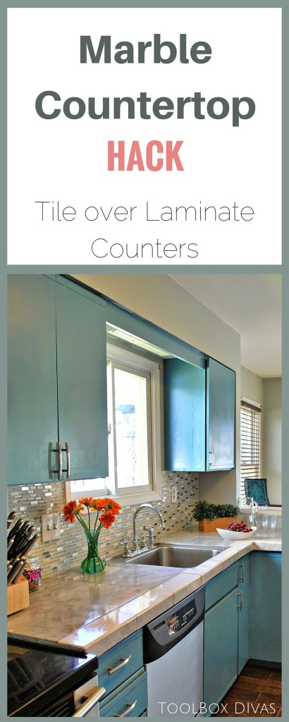 How to tile over Laminate countertops -Toolbox Divas