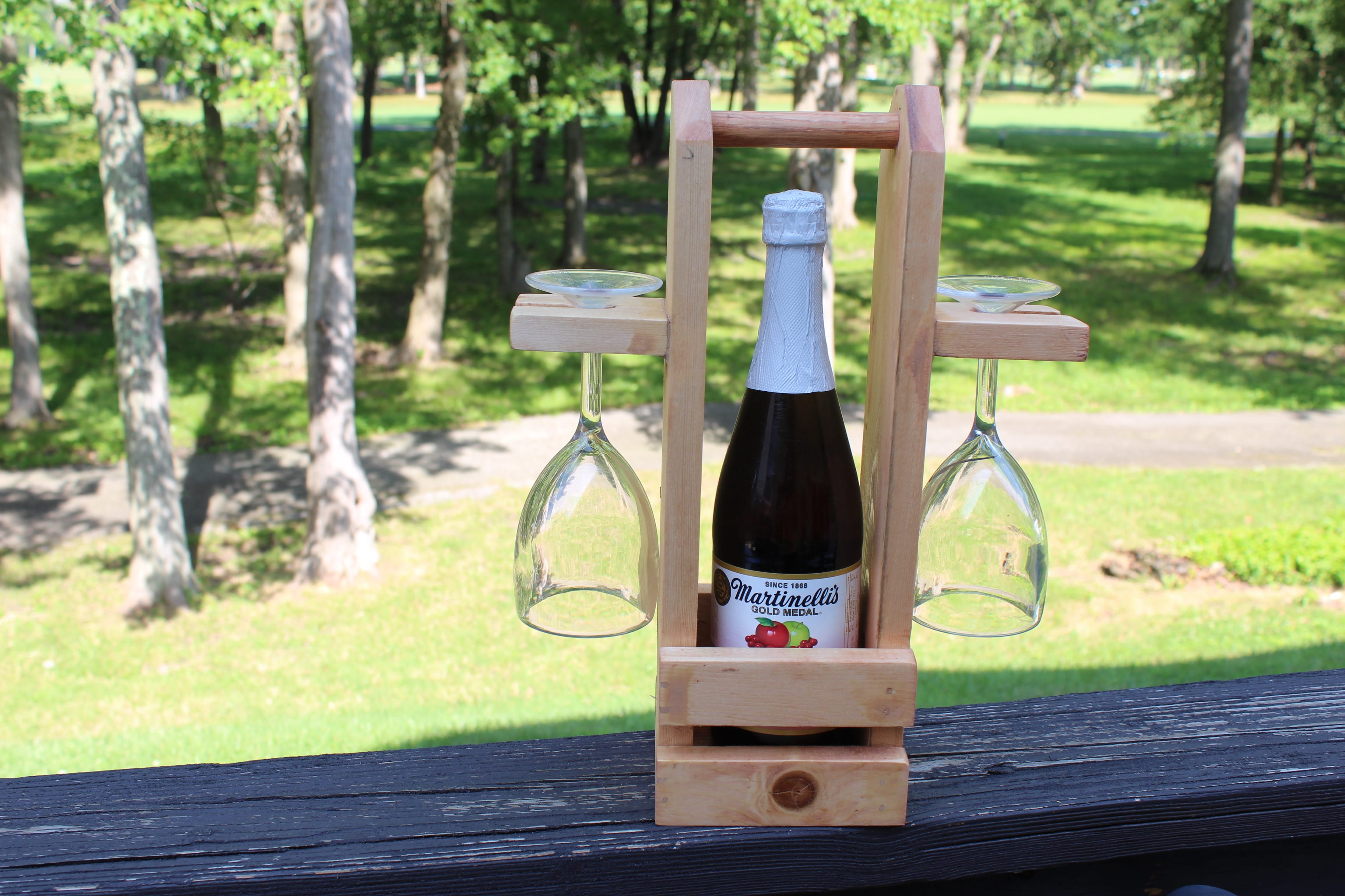 DIY Wine Caddy with Glass Holder - ToolBox Divas