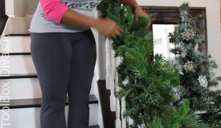 inserting more picks Christmas Stairs - Toolbox Divas
