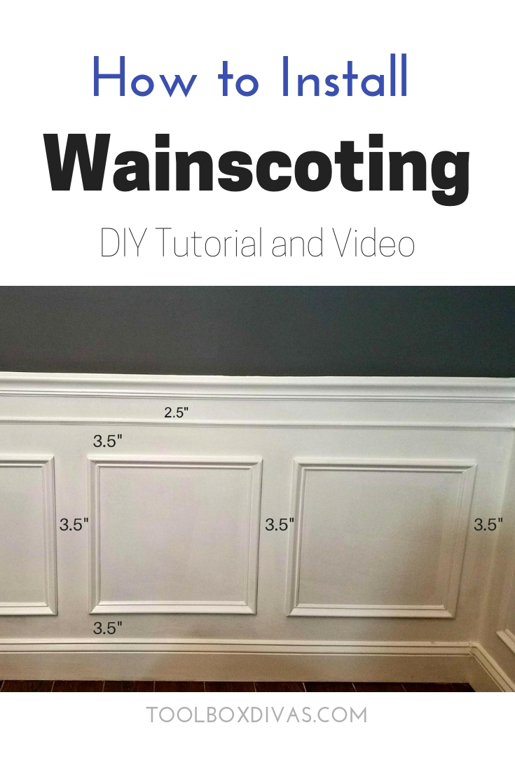 how to install DIY Wainscoting video and tutorial picture frame moulding