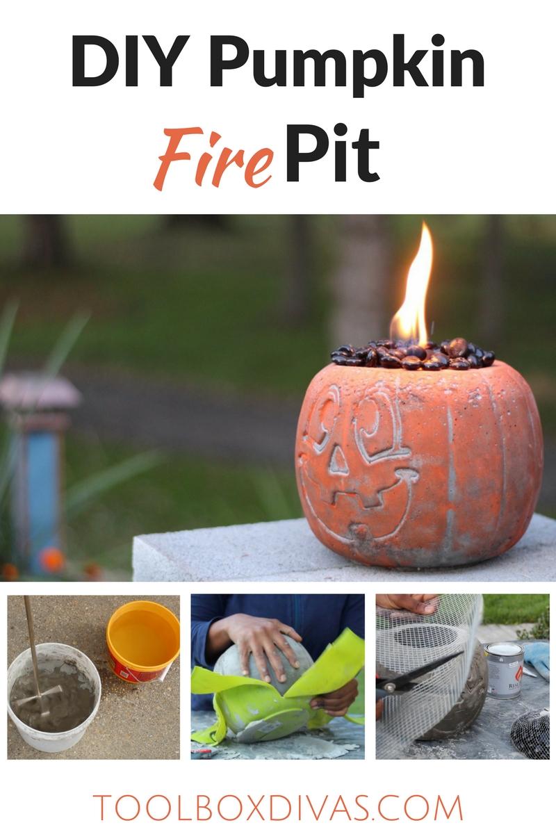DIY Concrete Pumpkin Fire Pit / Halloween Event Incredible DIY Fire Pit that's super easy. DIY Concrete Pumpkin Fire pit. Easy DIY for Halloween. Halloween decor, #Quikrete #Pumpkin #Fall #Halloween2017 #DIY #Firepit #Concrete #Pumpkins @ToolboxDivas #toolboxdivas @quikrete