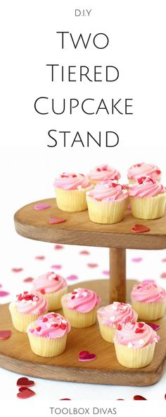 How to make a two tiered cupcake stand toolbox divas for Cupcake stand plans