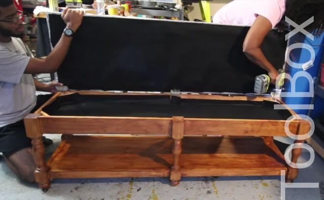 How to Build A DIY Tufted Bench - Toolbox Divas 37