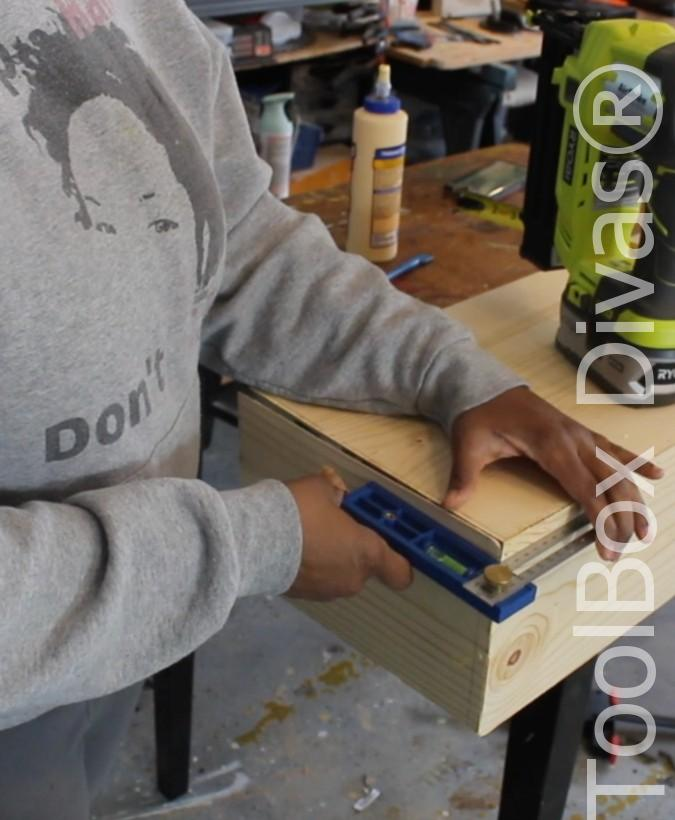 How to build a Rustic Faux wood beam mantel or floating shelf - Toolbox Divas 40