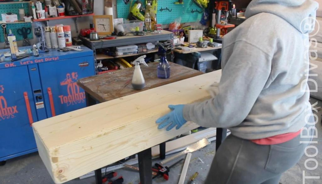 How to build a Rustic Faux wood beam mantel or floating shelf - Toolbox Divas 28