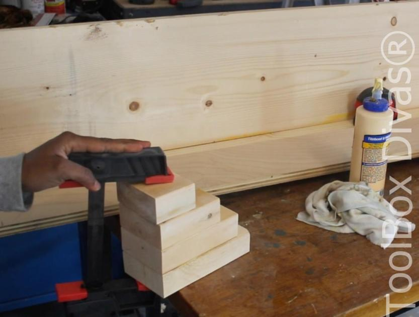 How to build a Rustic Faux wood beam mantel or floating shelf - Toolbox Divas 18