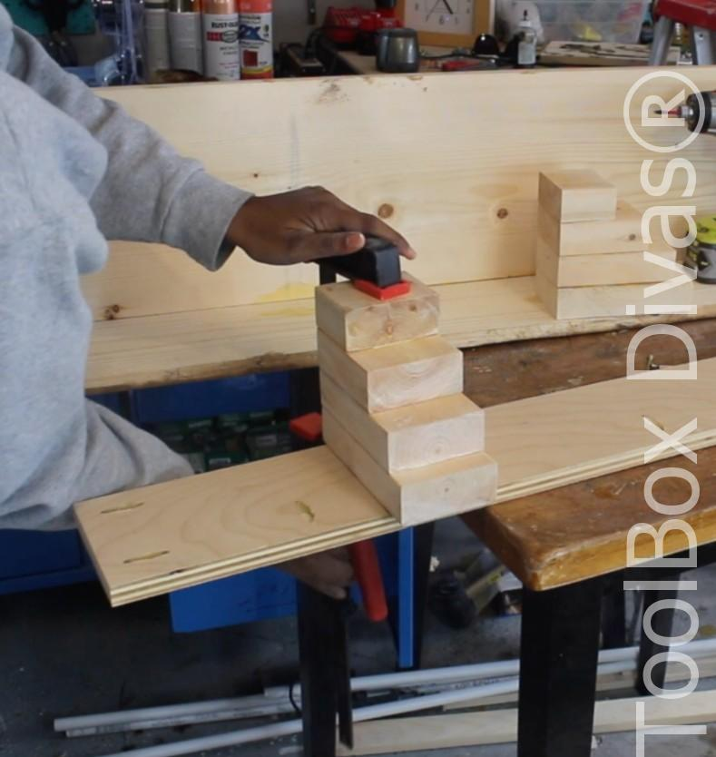 How to build a Rustic Faux wood beam mantel or floating shelf - Toolbox Divas 13