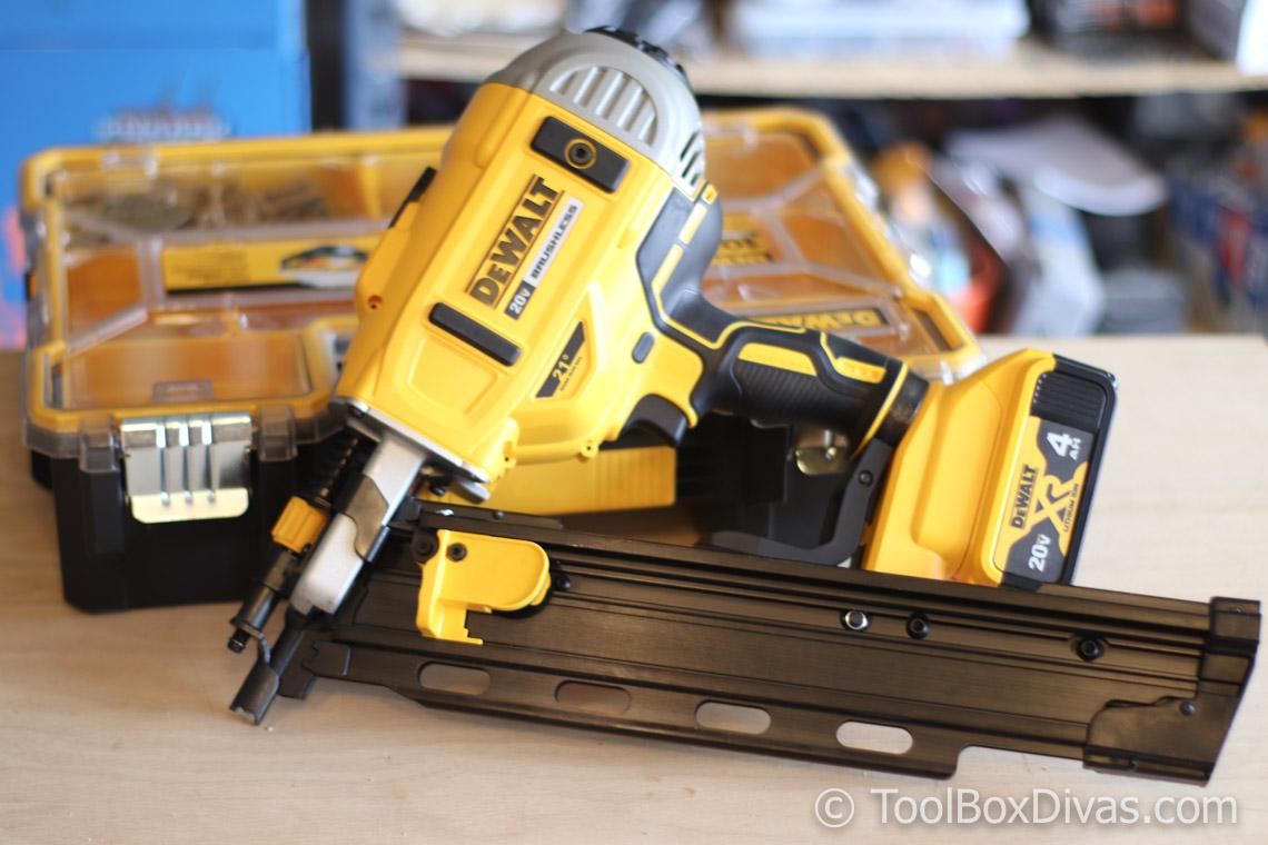 56c5f2a963a DEWALT 21-Degree Cordless Framing Nailer   Small Parts Organizer Tool Review