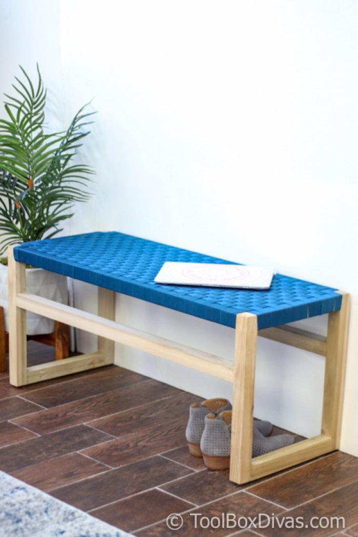 Incredible Modern Wooden Bench With Woven Fabric Seat Toolbox Divas 64 Creativecarmelina Interior Chair Design Creativecarmelinacom