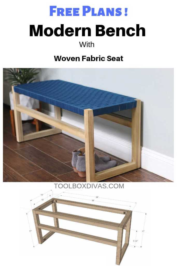 Build a Modern Wooden Bench with Woven Fabric Seat by @Toolboxdivas
