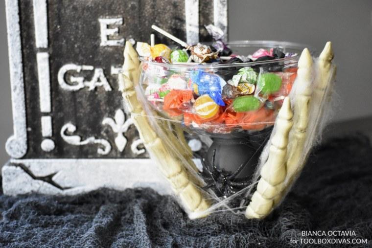 DIY Halloween Candy Dish - Dollar Tree Project @Toolboxdivas for party halloween decor ideas