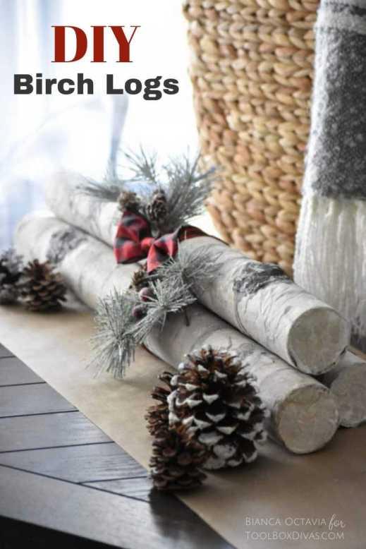 DIY Faux fake Birch wood logs @toolboxdivas.com holiday decor ideas Christmas decor