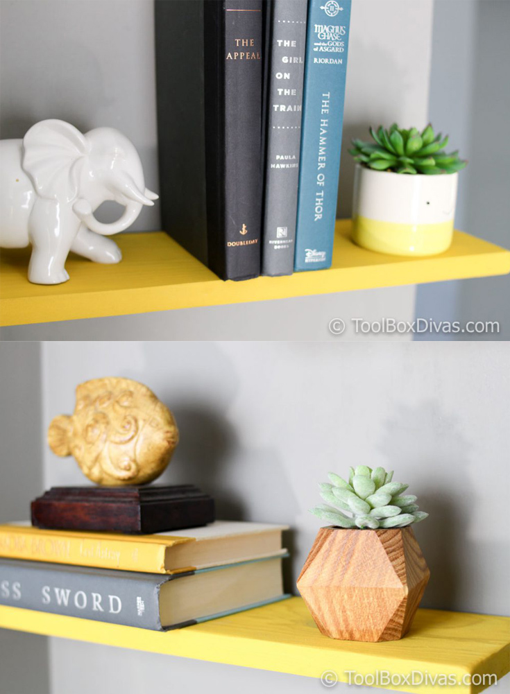Easiest tutorial for DIY faux floating shelves. Install DIY Faux floating shelves for under $10 in less than an hour with this technique.