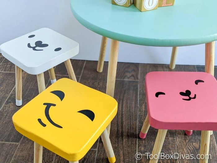 DIY Round Play Table with Dipped Stools @Toolboxdivas (1 of 74)