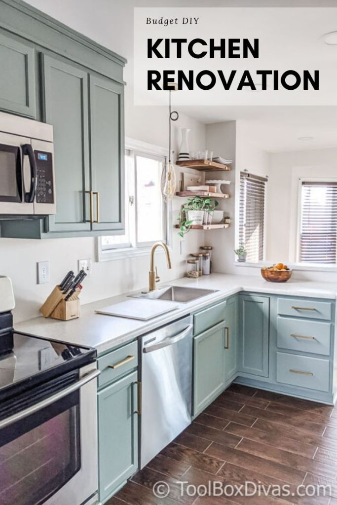 Budget friendly before and after kitchen renovation remodel DIY green cabinets @toolboxdivas