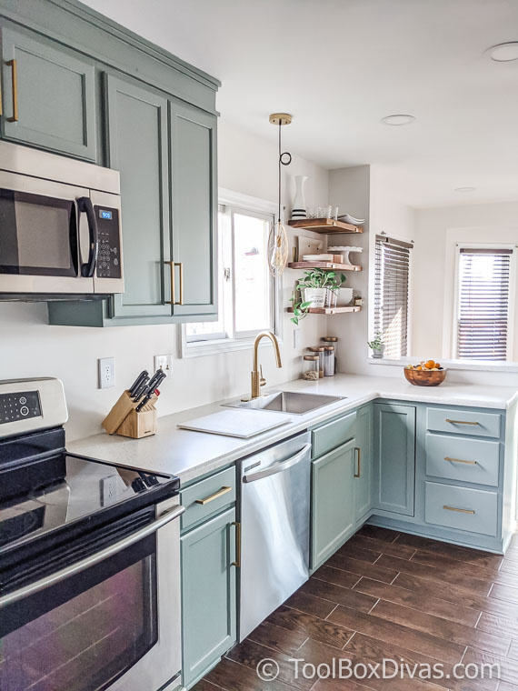 renovated kitchen painted cabinets green modern farmhouse boho kitchen