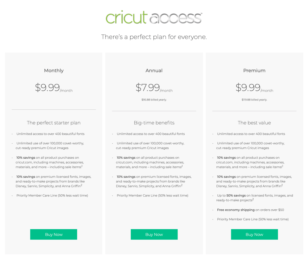 Cricut Access Plans