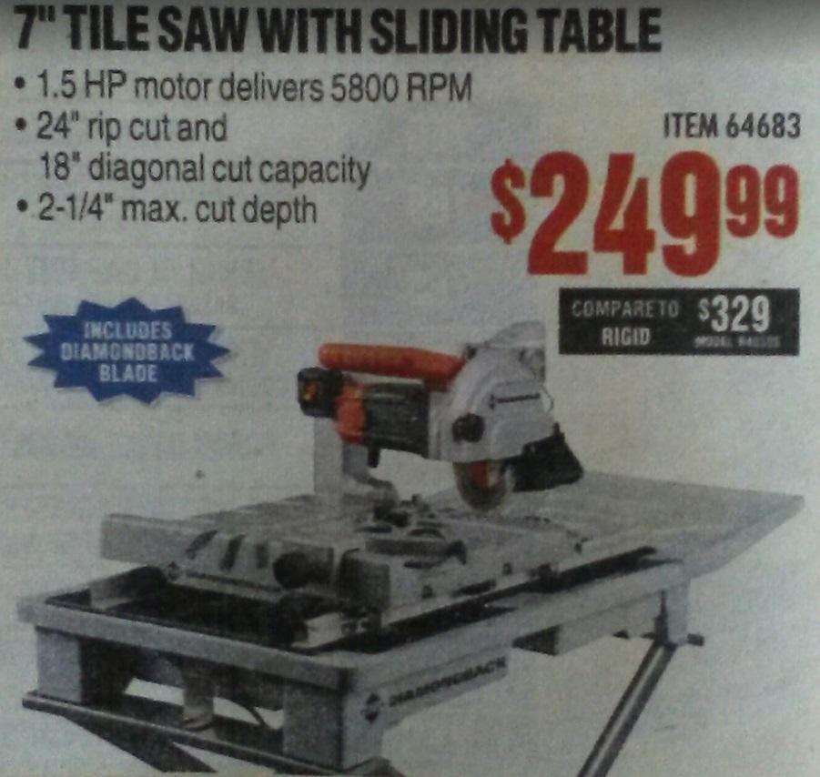 new brand diamondback tile saws at