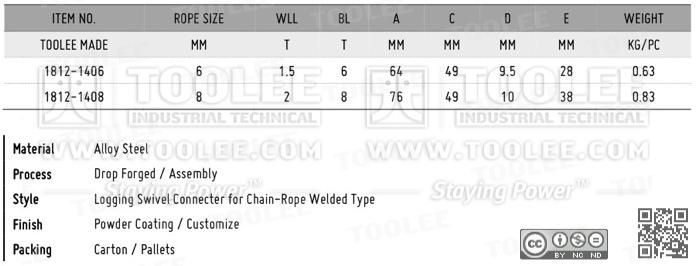 1812 Keyhole Slider Logging Swivel Connecter for Chain Rope Welded Type DATA