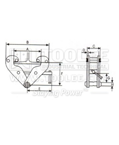 300 9228 YC Type Beam Clamp Drawing