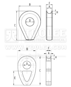300 2210 Thimble DIN3091 Solid Type DRAWING