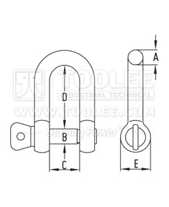 300 5701 Stainless Steel Dee Shackle With Screw Pin Commercial drawing